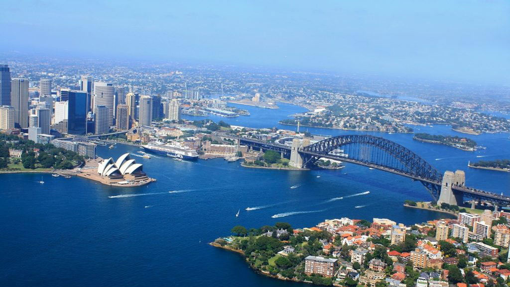 Sydney Harbour Bridge and Opera House from the air